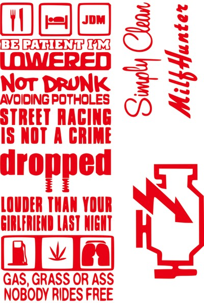 Smoke 10'lu Sticker Set Jdm Kırmızı