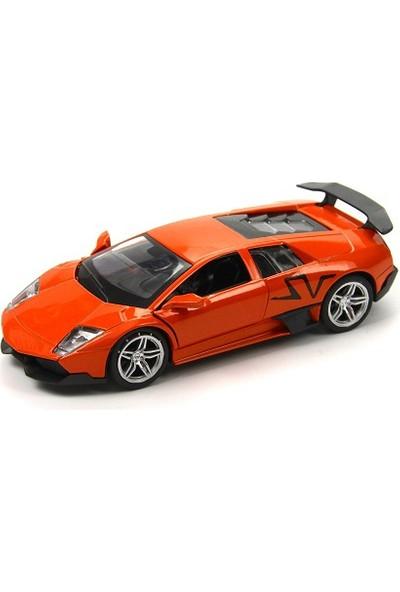 Lamborghini Metal Çek Bırak Model Araba Turuncu Tevulimma016