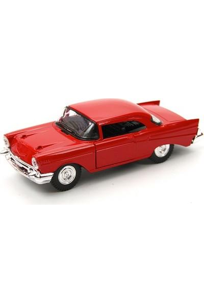 1955 Ford Thunderbird Metal Çek Bırak Model Araba Kırmızı Tevulimma018