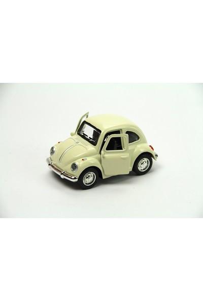 1967 Volkswagen Klasik Beetle Metal Çek Bırak Model Araba Krem 9 Cm Tevulimma030