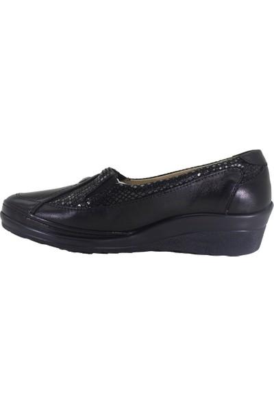 Forelli 26222 Kadın Siyah Deri Comfort Ayakkabı