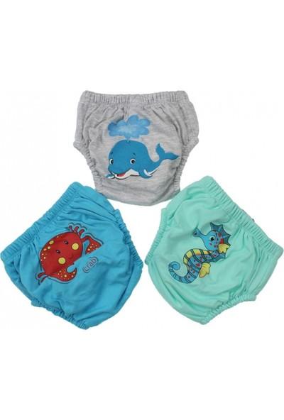 Story Baby Erkek Bebek Sevimli 3'Lü Alıştırma Külodu (Gri) Mavi Balinalı