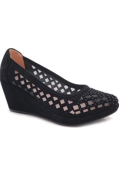 Nancy Siyah Nubuk Taşlı Dolgu Topuk Abiye Ayakkabı