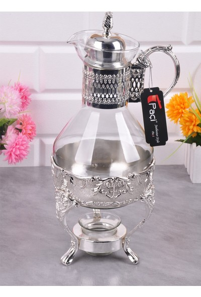 Bayev Gümüş Taşlı Cam Fondü 400373