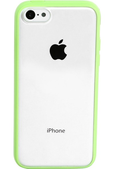 Case 4U iPhone 5c Şeffaf Yeşil Tpu + Kristal Kapak*