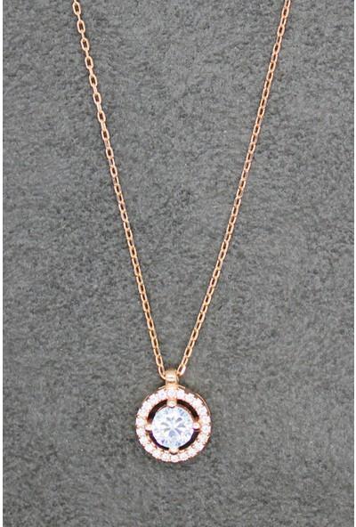 Bella Gloria Yuvarlak Tektaş Rose Gümüş Kolye (Tgk0037)