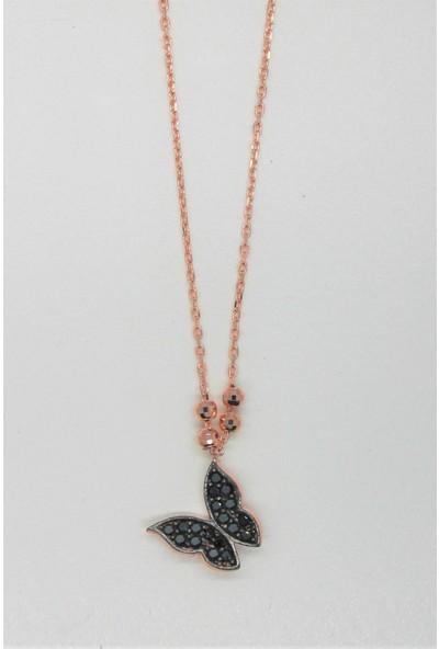 Bella Gloria Siyah Kelebek Rose Gümüş Kolye (Tgk0163)