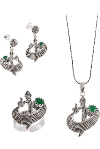Akyüz Gümüş Elif & Vav Kök Zümrüt Taşlı Telkari Gümüş Set