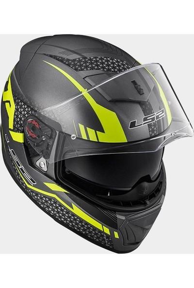 Ls2 Ff390 Split Motosiklet Kaskı (Mat Titanyum-Sarı)
