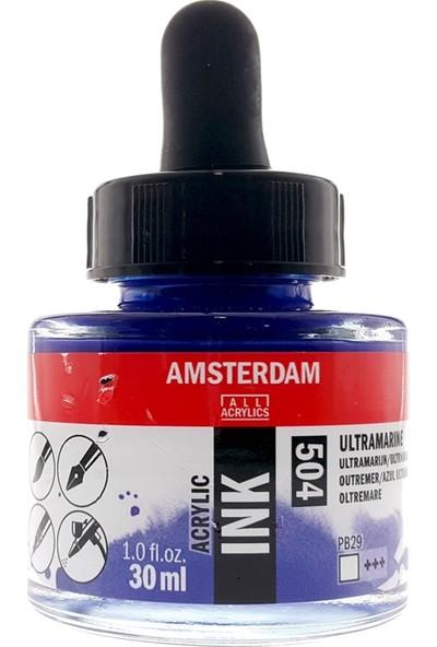 Talens Amsterdam Akrilik Mürekkebi 30Ml - N:504 Ultramarine