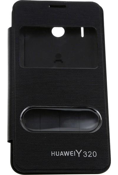 Case 4U Huawei Y320 Pencereli Flip Cover Siyah*