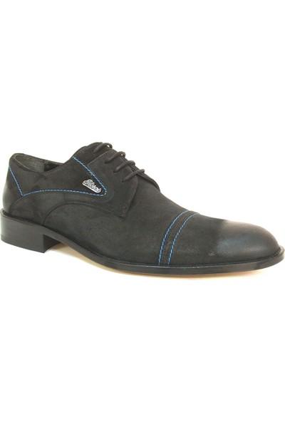 Ekici 3803 Siyah Saks Mavi Deri Bağcıklı Kösele Erkek Ayakkabı