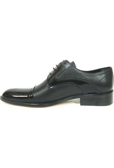 Ekici 3804 Siyah Deri Rugan Bağcıklı Kösele Erkek Ayakkabı