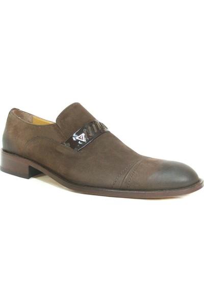 Ekici 3807 Kahverengi Nubuk Deri Bağcıksız Kösele Erkek Ayakkabı