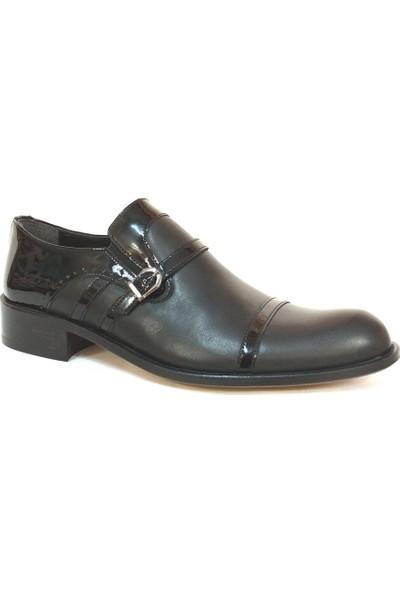 Ekici 3810 Siyah Deri Rugan Bağcıksız Kösele Erkek Ayakkabı