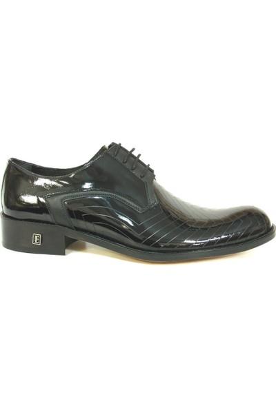 Ekici 3840 Siyah Rugan Deri Bağcıklı Kösele Erkek Ayakkabı