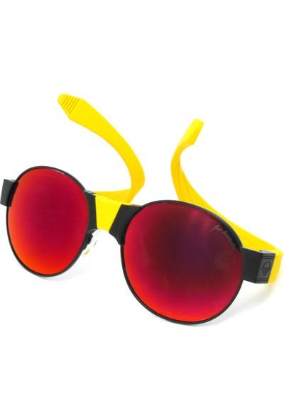 Sundance Kid Siyah Çerçeve Kırmızı Lens/ Sarı Temples Ve Burunluk