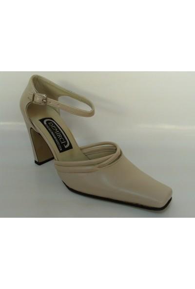 Demirci Bej Krem Topuklu Bayan Ayakkabı