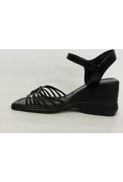 Frattini Siyah Dolgu Topuk Sandalet Ayakkabı
