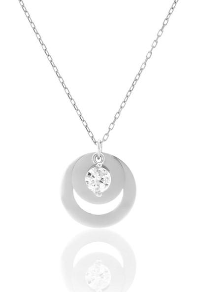 Azuris 925 Ayar Gümüş Tek Taş Plaka Kolye Alk1301