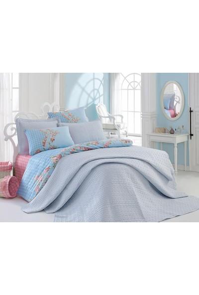 Cotton Box Çift Kişilik Daily Serisi Yatak Örtüsü Seti Mavi