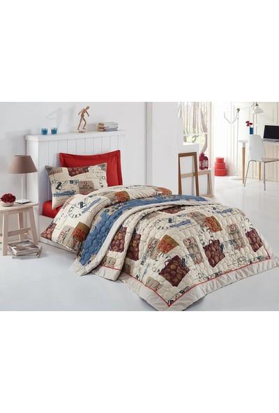 Cotton Box Tek Kişilik Comfort Set Serisi Nevresimli Yatak Örtüsü Seti Travel Kırmızı