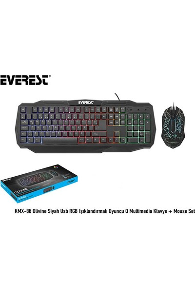 Everest KMX-86 Olivine Siyah Usb RGB Işıklandırmalı Oyuncu Q Multimedia Klavye + Mouse Set