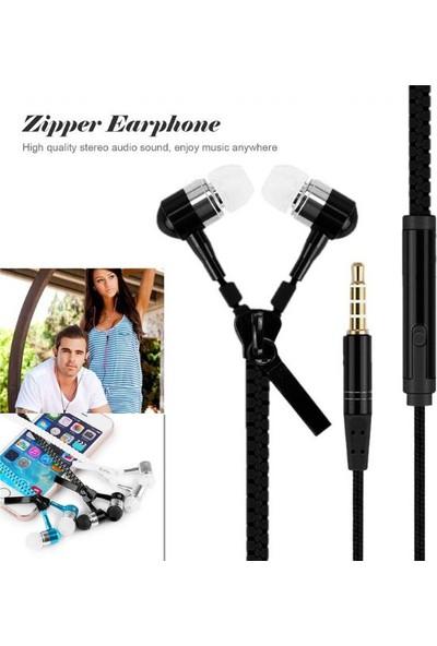 Rugad Fermuar Tasarimli Kulakici Mikrofonlu Kulaklik - Sıyah