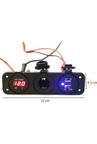 Motosiklet Oto Çift USB Sarj Çakmak Soketi Voltmetre 12V