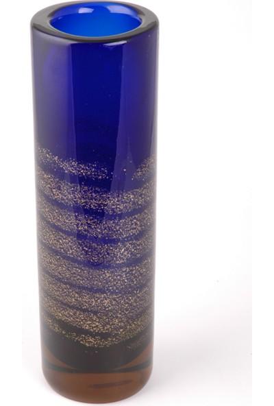 Çıkın Kristal Lacivert Yaldızlı Vazo