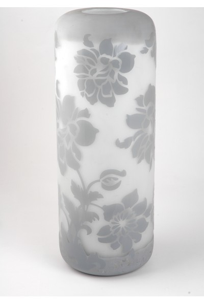 Çıkın Büyük Buzlu Gri Çiçekli Vazo