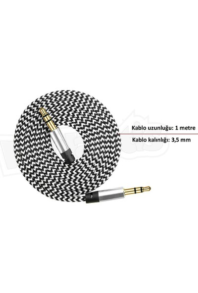 Diwu AUX Stereo 3.5mm Data Ses Örgü Kablo Beyaz