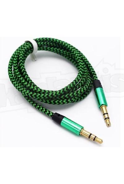 Diwu AUX Stereo 3.5mm Data Ses Örgü Kablo Yeşil
