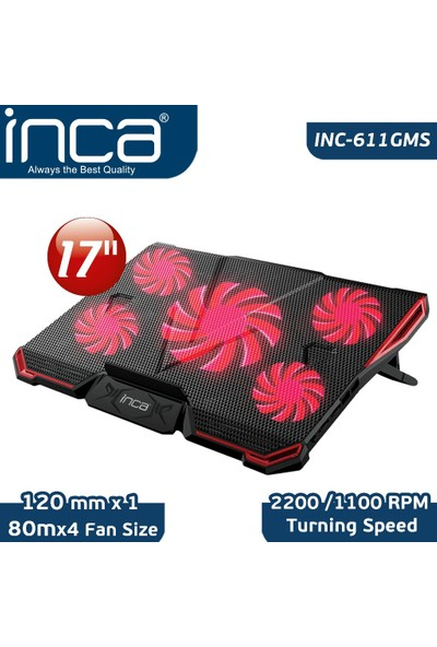 Inca INC-611 GMS Arrax Gaming 5x Fan 6 Kademeli 2xUSB Notebook Soğutucu