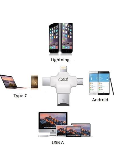 Microcase Apple iPhone Microusb Type C Tf Kart Okuyucu Reader