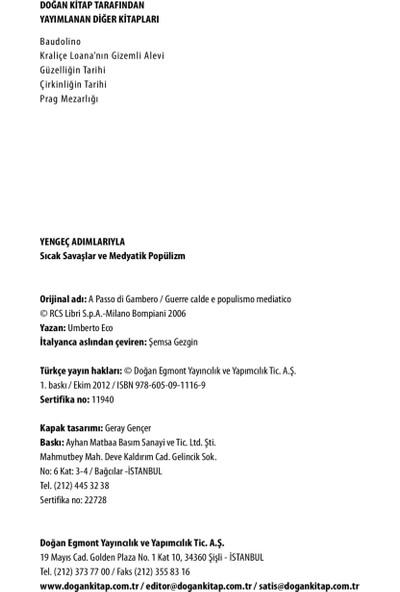 Yengeç Adımlarıyla, Sıcak Savaşlar Ve Medyatik Popülizm-Umberto Eco