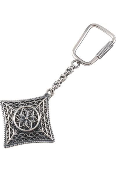 Akyüz Gümüş Sade Tasarımlı Telkari Gümüş Anahtarlık