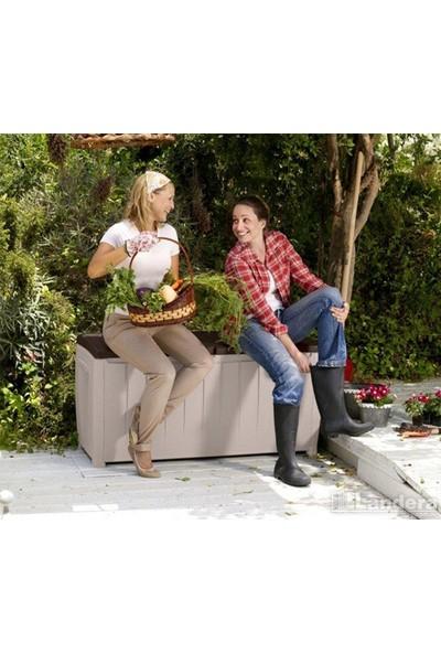 Decotex Keter Novel Bahçe Depolama Sandığı 340 L Plastik Sandık Kahve