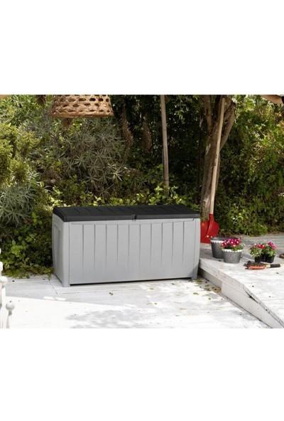 Decotex Keter Novel Bahçe Depolama Sandığı 340 L Plastik Sandık Siyah Gri