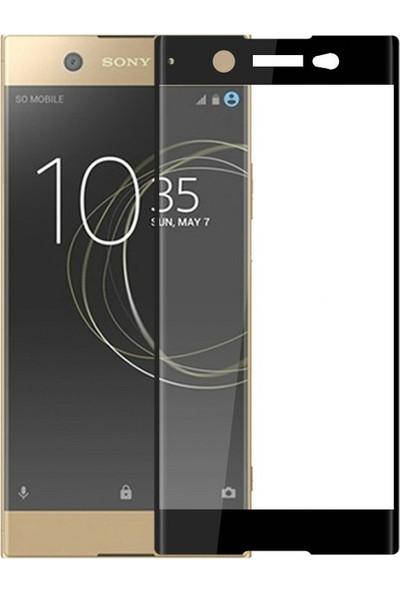Case 4U Sony Xperia XA1 Ultra Tam Kaplayan Cam Ekran Koruyucu Siyah