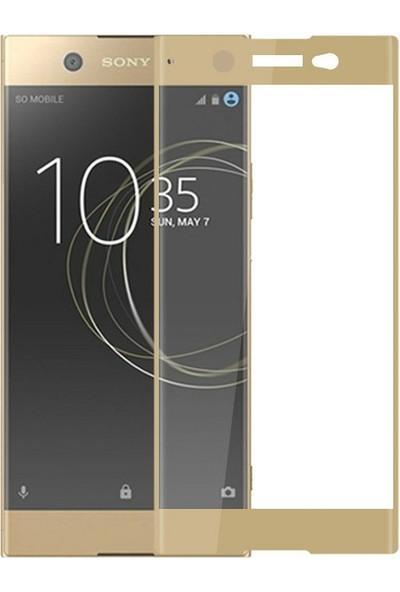 Case 4U Sony Xperia XA1 Ultra Tam Kaplayan Cam Ekran Koruyucu Altın