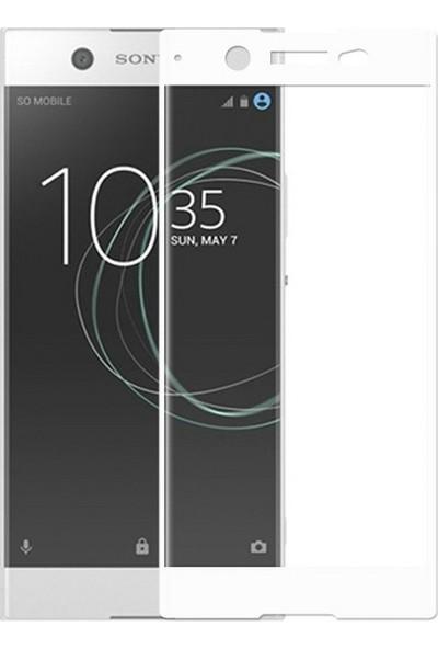 Case 4U Sony Xperia XA1 Tam Kaplayan Cam Ekran Koruyucu Beyaz