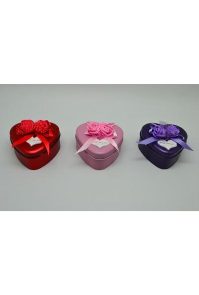 Cemre Metal Renkli Kalp Hediye & Takı & Mücevher Kutusu 12'li