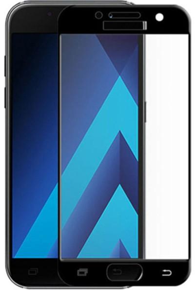 Gpack Samsung Galaxy A7 2017 Renkli Full Kapatan Ekran Koruyucu Cam Siyah