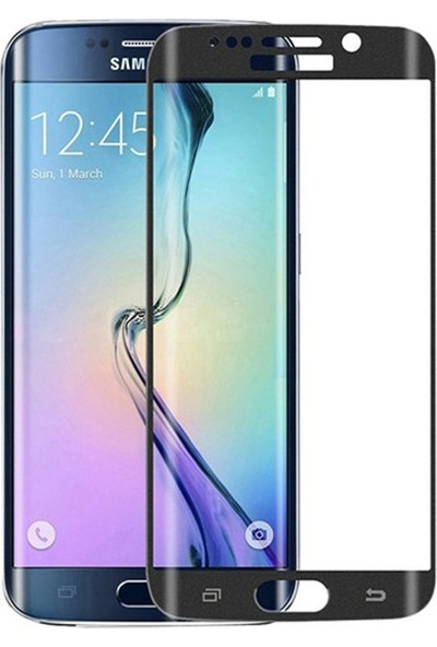 Gpack Samsung Galaxy S6 Edge Renkli Full Kapatan Ekran Koruyucu Cam Siyah
