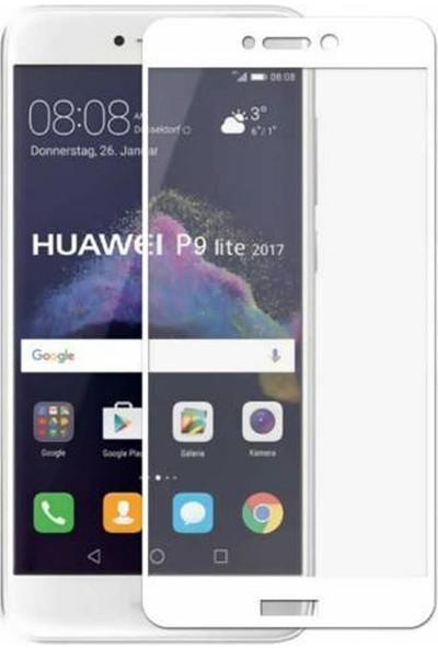 Gpack Huawei P9 Renkli Full Kapatan Ekran Koruyucu Cam Beyaz