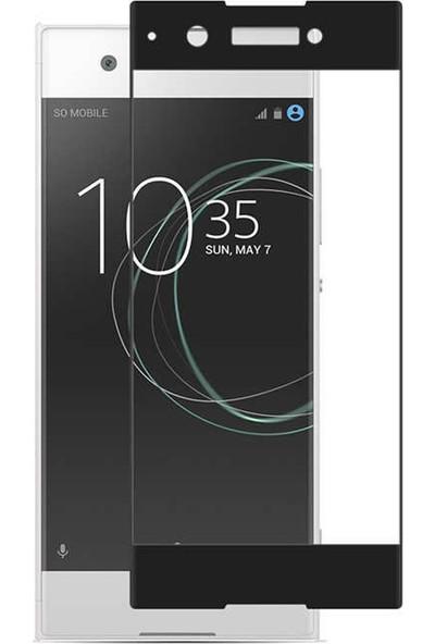 Gpack Sony Xperia Xa1 Renkli Full Kaplayan Siyah