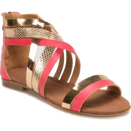 Miss F DS17052 Pembe Altın Kadın Sandalet