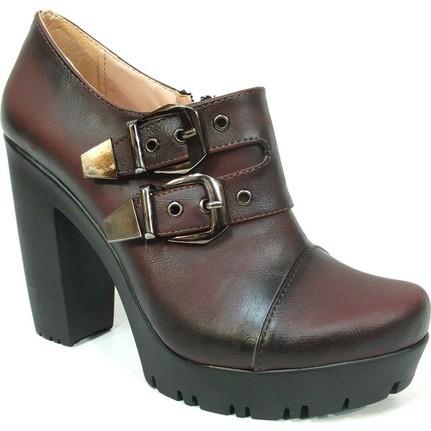 Nel Moda 1309 Bottie  Bordo Kadın Ayakkabı