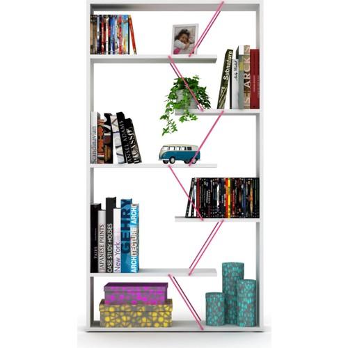 Rafevi Tars Kitaplık Beyaz Pembe RF160303